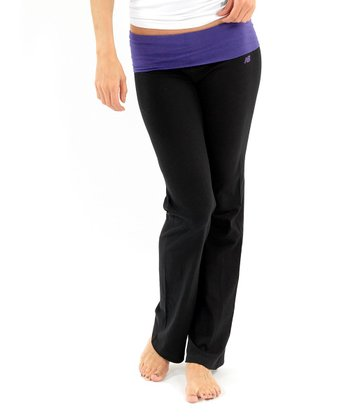 Purple & Black Fold-Over Yoga Pants