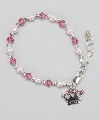 Tiny Treasures  Pink Crystal & Sterling Silver Pearl 'Princess' Crown Bracelet