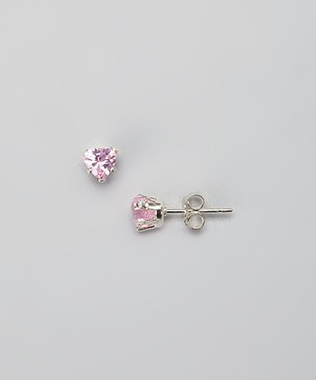Sterling Silver & Pink Crystal Heart Earrings