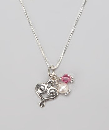 Pink & Sterling Silver Heart Charm Necklace