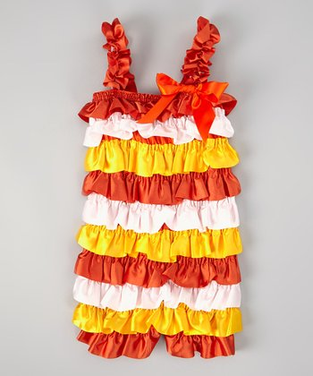 Orange & Yellow Ruffle Romper - Infant & Toddler