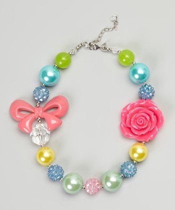 Pink & Green Rose Bow Bead Necklace