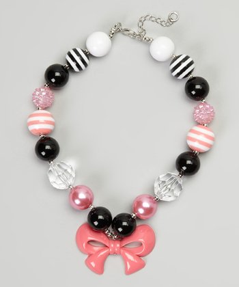 Black & Hot Pink Bow Bead Necklace