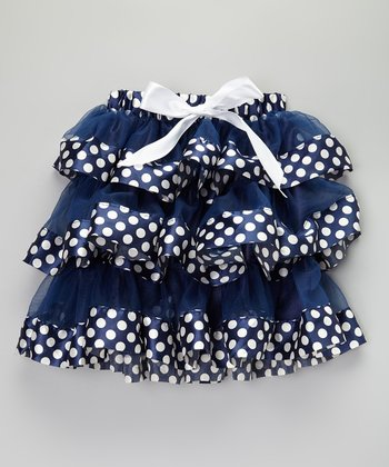Navy & White Polka Dot Ruffle Skirt - Infant, Toddler & Girls