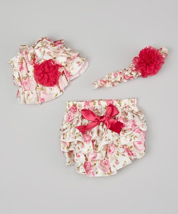 Hot & Hot Pink Floral Diaper Cover Set