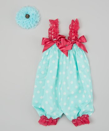 Aqua & White Dot Bubble Romper & Flower Clip