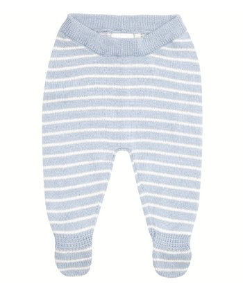 Blue Stripe Sweater Footie Pants - Infant