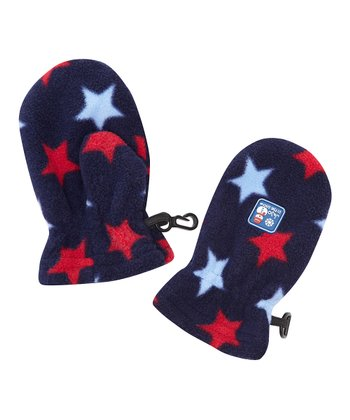 Navy & Red Star Fleece Mittens - Infant, Toddler & Kids