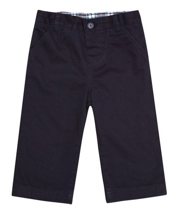 Navy Jersey-Lined Twill Trousers - Infant, Toddler & Kids