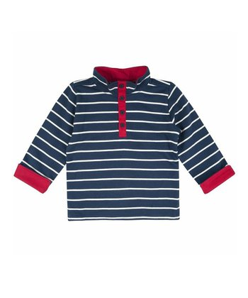 Navy & Ecru Stripe Henley Sweatshirt - Infant, Toddler & Kids