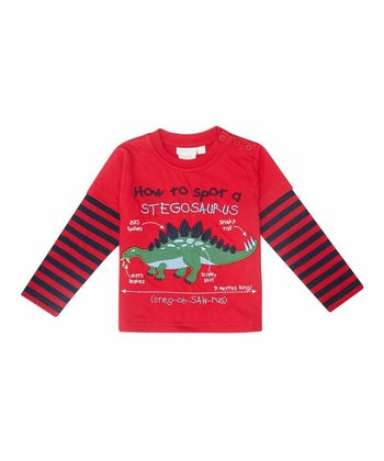 Red Stripe 'Stegosaurus' Layered Tee - Infant, Toddler & Kids