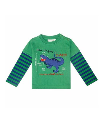 Green Stripe 'T-Rex' Layered Tee - Infant, Toddler & Kids