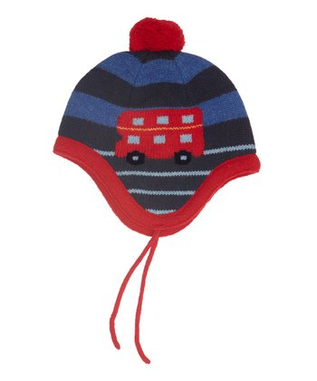 Blue Stripe Bus Pom-Pom Wool-Blend Earflap Beanie