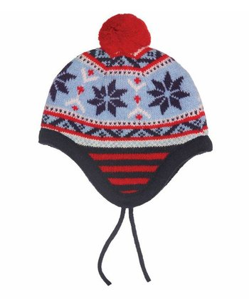 Navy & Blue Fairisle Pom-Pom Wool-Blend Earflap Beanie