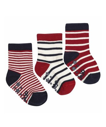 Red & Ecru Stripe Socks Set