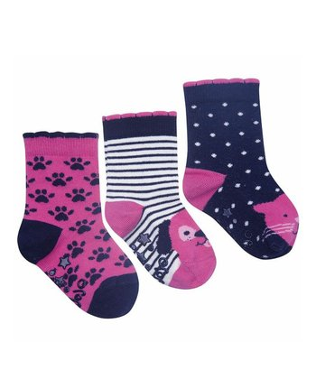 Navy & Pink Stripe Socks Set