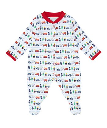 White & Red Fireman Footie - Infant