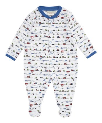 White & Blue Transport Footie - Infant