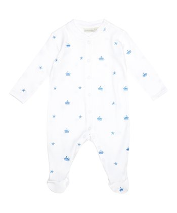 White & Blue Crown Footie - Infant