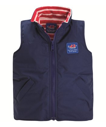 Navy & Red Stripe Reversible Fleece Vest - Infant, Toddler & Kids
