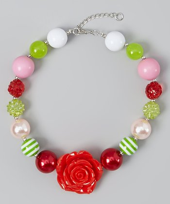 Green & Red Rose Bead Necklace