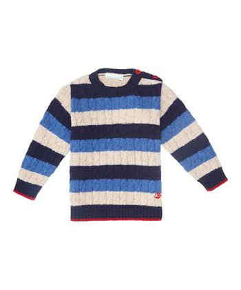 Blue & White Stripe Cable-Knit Sweater - Infant, Toddler & Kids