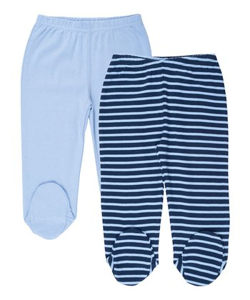 Navy Blue Stripe Footie Pants Set - Infant
