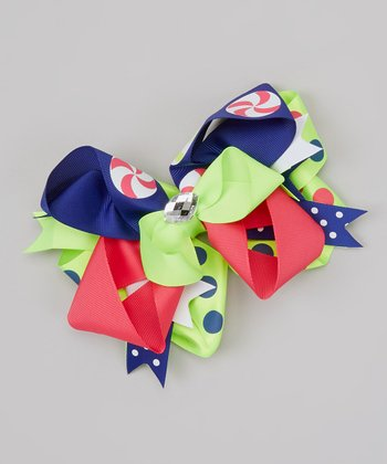 Lime & Green Polka Dot Rhinestone Bow Clip