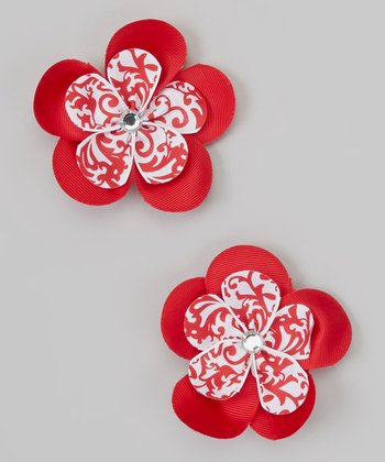 Red & White Swirl Rhinestone Flower Clip Set