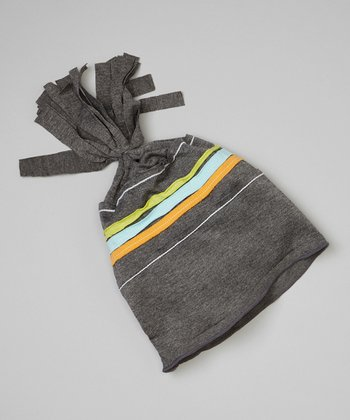 Gray & Orange Stripe Frill Beanie