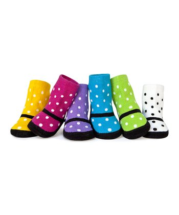 Hot Pink & Green Polka Dot Mary Jane Socks Set
