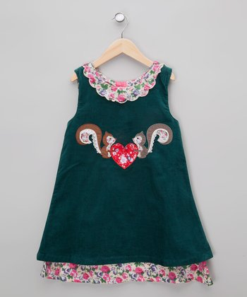 Dark Teal Floral Squirrel Corduroy Dress - Infant, Toddler & Girl