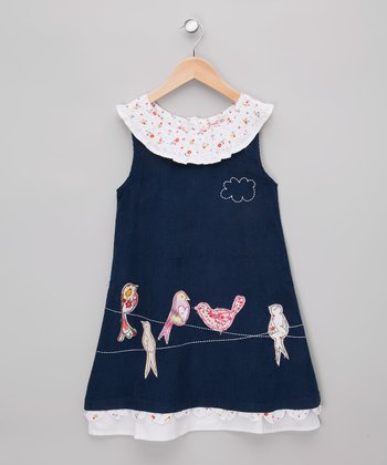 Navy Bird Corduroy Dress - Infant, Toddler & Girls