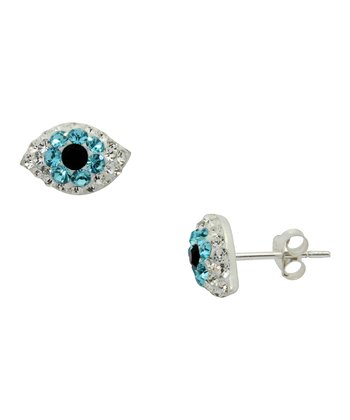 Sterling Silver Hamsa Evil Eye Stud Earrings