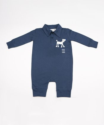 Blue Poodle Polo Playsuit - Infant