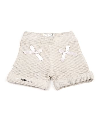 Light Gray Bow Thermal Cuffed Shorts - Toddler & Girls