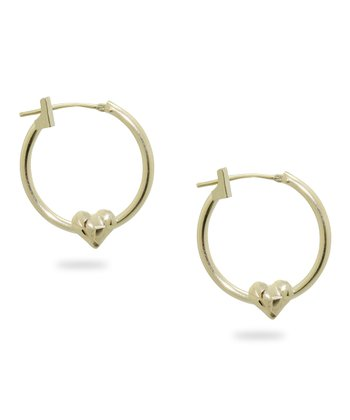 Gold Textured Heart Hoop Earrings