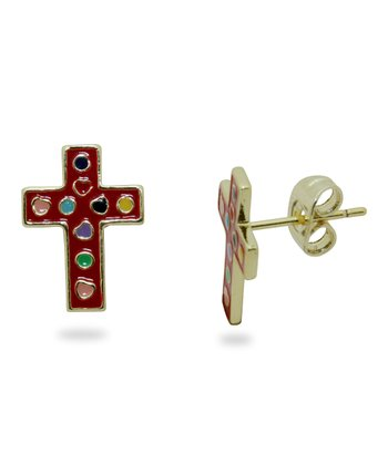 Red & Gold Cross Stud Earrings
