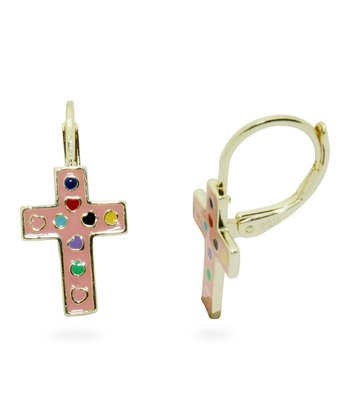 Pink & Gold Cross Leverback Earrings