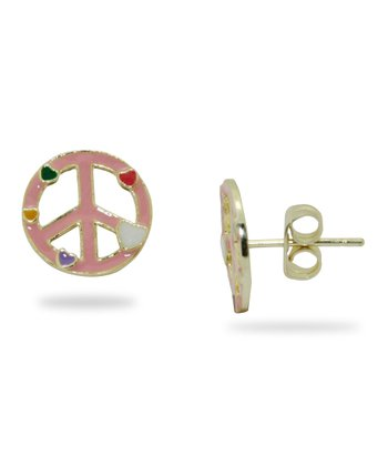Pink & Gold Peace Sign Stud Earrings