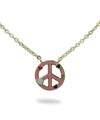 Pink & Gold Peace Sign Necklace
