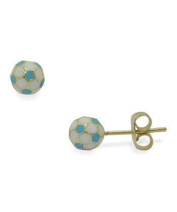 Blue & Gold Soccer Ball Stud Earrings