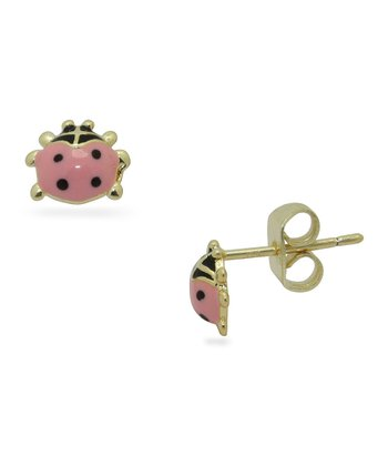 Pink & Gold Ladybug Stud Earrings