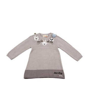 Gray Animal Pom-Pom Sweater Dress - Infant & Toddler