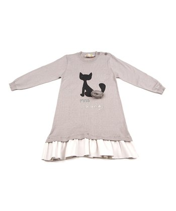 Gray Cat Ruffle Sweater Dress - Girls