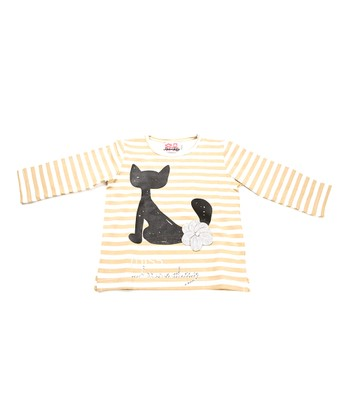 Tan & White Stripe Cat Tee - Infant, Toddler & Girls
