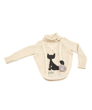 Tan Cat Cable-Knit Turtleneck Sweater - Infant, Toddler & Girls