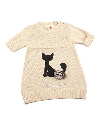 Tan Cat Sweater Dress - Toddler & Girls