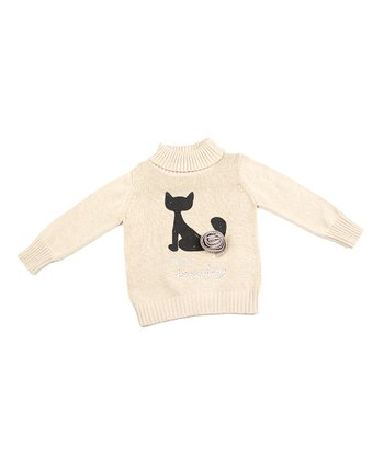 Tan Cat Turtleneck Sweater - Toddler & Girls