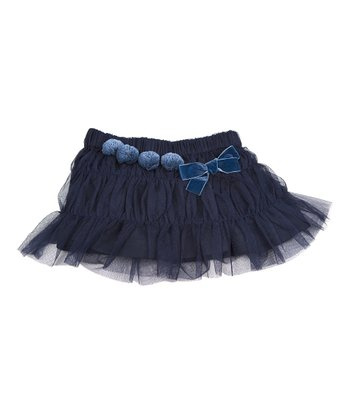 Blue Pom-Pom Tiered Ruffle Skirt - Infant, Toddler & Girls